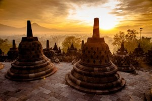 sunset from the top of borobudur