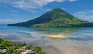 view from banda island with channel in background